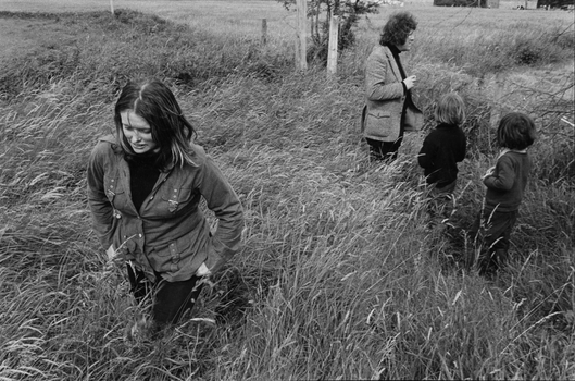 The Heaney family in a field with Marie Heaney walking toward the foreground and others near a fence in the background