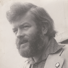 A 3/4 profile photo of Michael Longley in 1975
