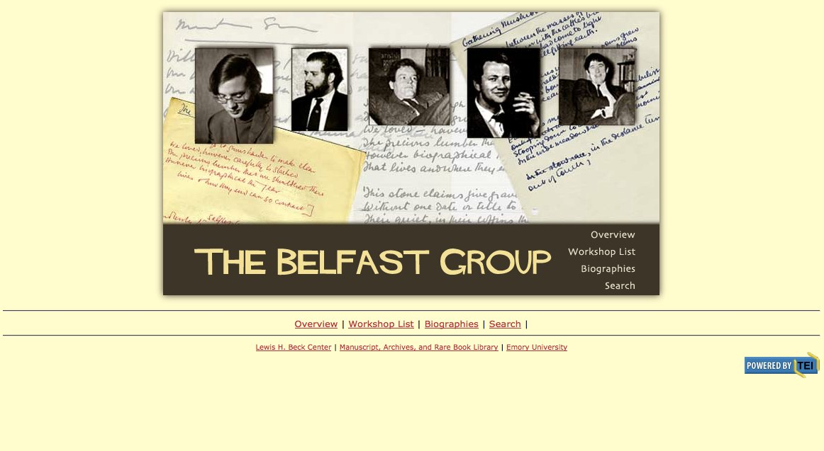 A screenshot of the circa 2000 website for the Belfast Group